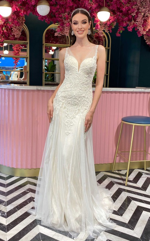 V-neck Lace Tulle Court Train Button Low-V Back Sheath Wedding Dress with Appliques