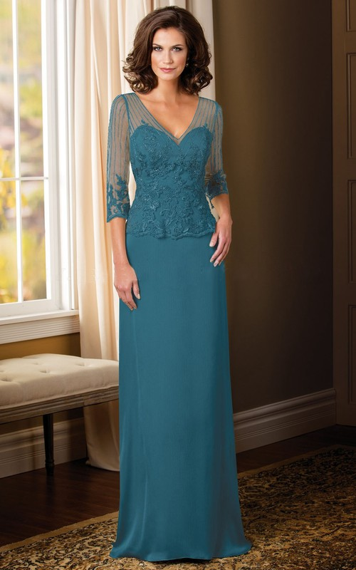 V-neck Illusion 3-4-sleeve Mother of the Bride Dress With Lace