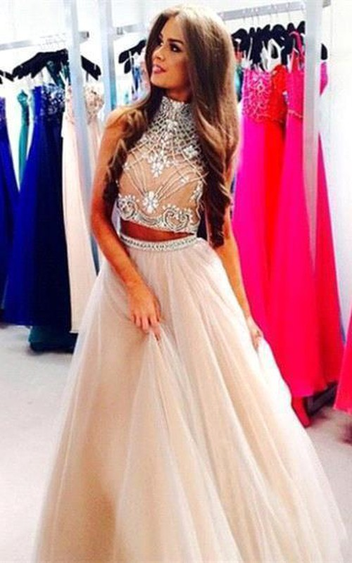 Prom Rhinestoned Tulle A-Line Two-Pieces Gorgeous Dress