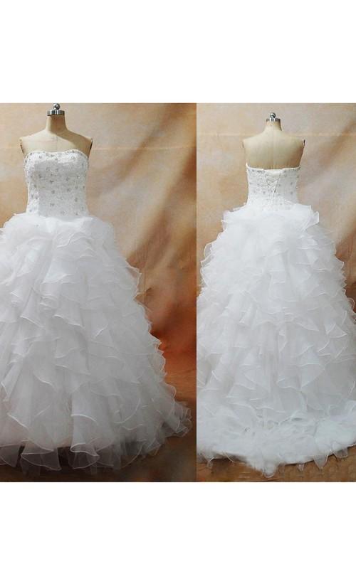 Strapless Organza  Sleeveless Wedding Dress