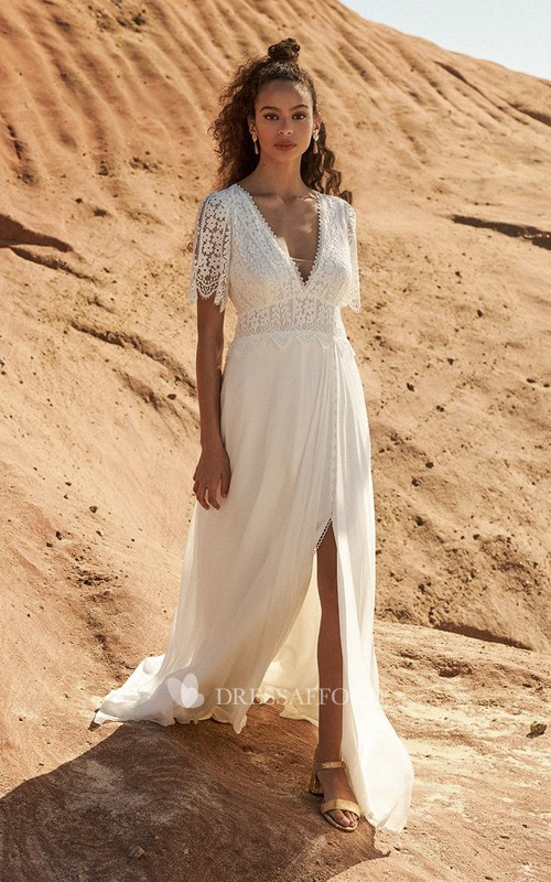 Bohemian Half Sleeve Plunging Front Split Lace And Chiffon Wedding Dress With Open Back