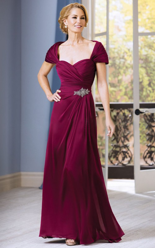 Beaded Ruched A-Line Short-Sleeved Gown