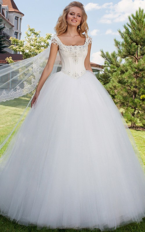 square-neck Cap-sleeve Tulle Ball Gown With Beading And Corset Back