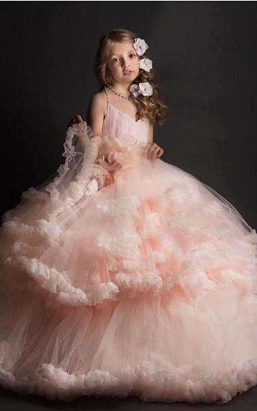 Romantic Tulle Spaghetti Tier Ball Gown Flower Dirl Dress