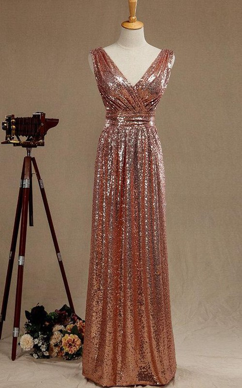 Plunged Ruched Sleeveless Sheath Sequined Dress With Low-V Back