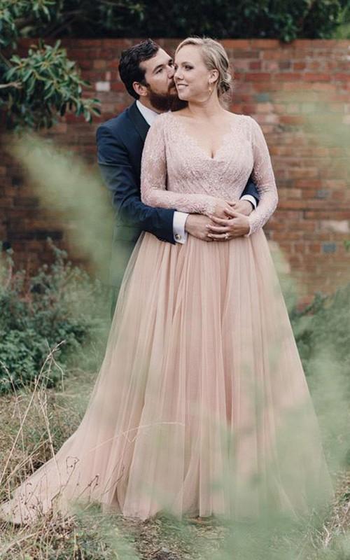 V-neck Lace Tulle Illusion Long Sleeve Wedding Dress
