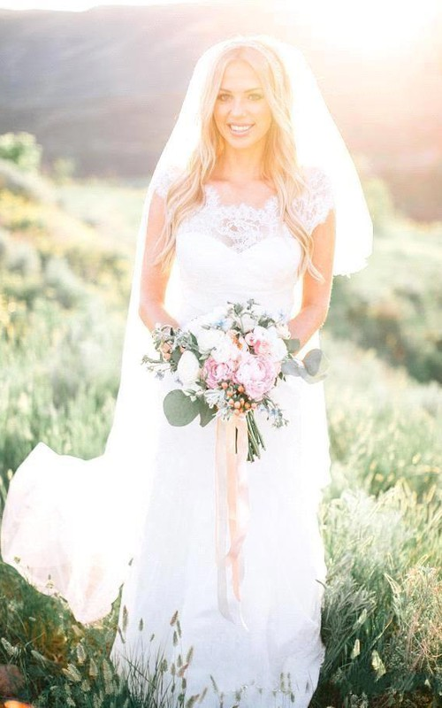 Scalloped Lace Cap Short Sleeve Wedding Gown