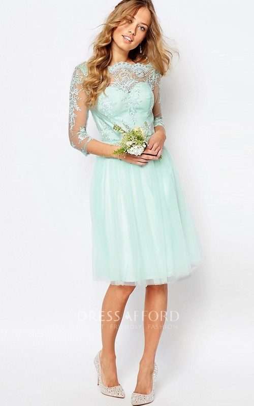 Bateau 3-4-sleeve Tulle Satin Dress With Appliques