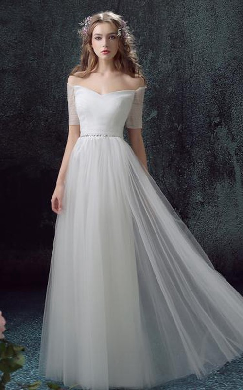 Off-the-shoulder Short Sleeve Tulle Wedding Dress With Jeweled Waist