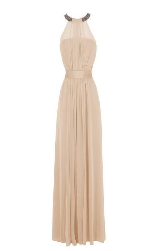 Jewel-Neck Sleeveless Chiffon Long Dress With Pleats