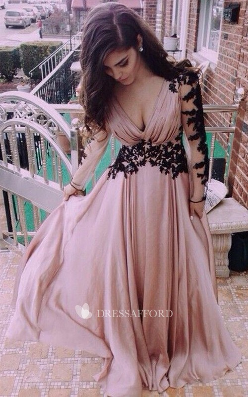 V-neck Chiffon Long Sleeve Floor-length Appliques Lace Pleats Embroidery Dress