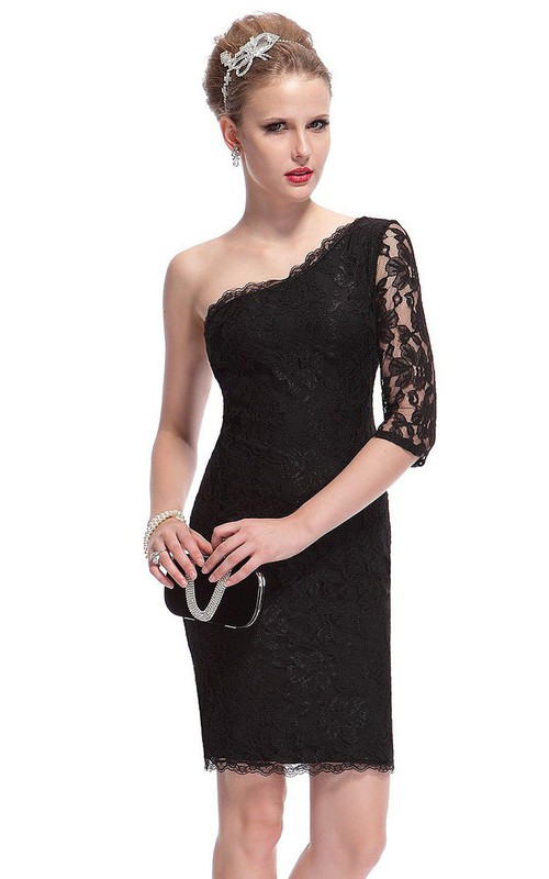 One-shoulder Lace Sheath Dress With Half Sleeve