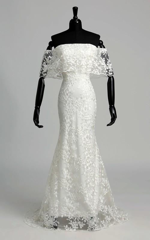 Off-the-shoulder Half Sleeve Natural Pleats Ruffles Wedding Dress