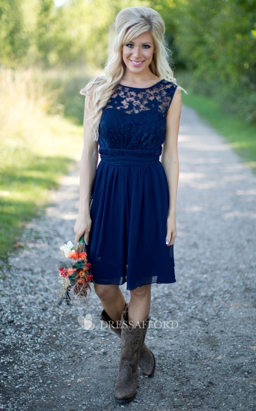 Sleeveless Chiffon Short A-Line Lace Backless Gown
