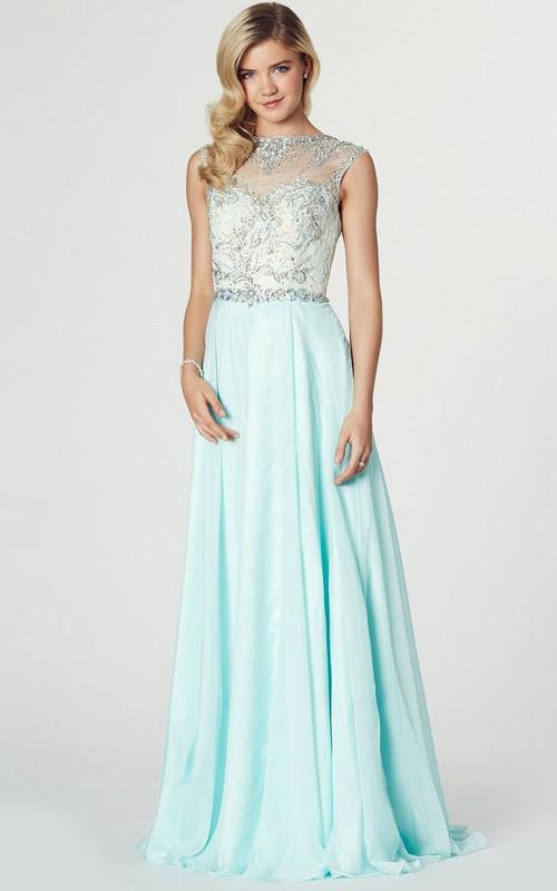 Maxi Sleeveless Beaded Jewel Neck Chiffon Prom Dress
