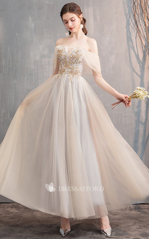 Off-the-shoulder V-neck Tulle Prom Formal Dress With Appliques