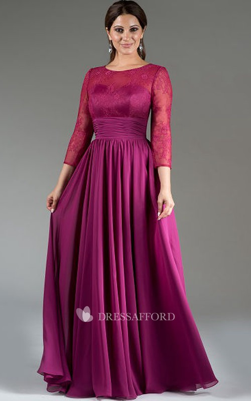 Scoop-neck Lace Long Sleeve Floor-length  Chiffon Dress With Pleats