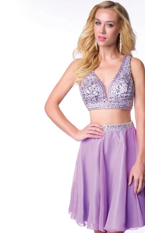 2-Piece Bling Bust Sleeveless Chiffon Mini Short Homecoming Dress