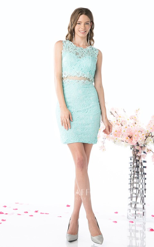 Pencil Short Mini Sleeveless Jewel-Neck Lace Dress