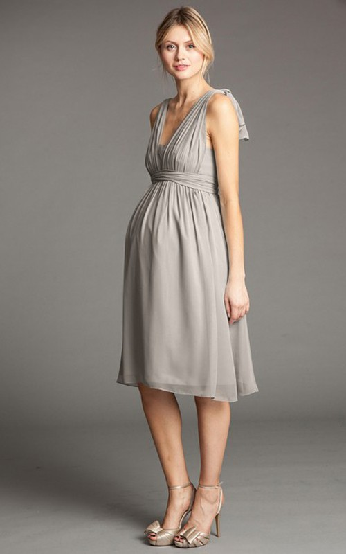 V-neck Strapped Empire short Chiffon Maternity Dress