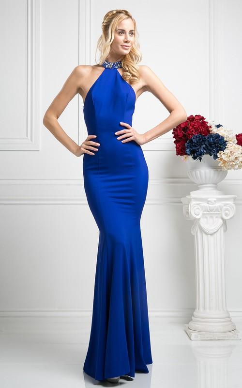 Column Jeweled Full-Length High-Neck Jersey Sleeveless Illusion Dress