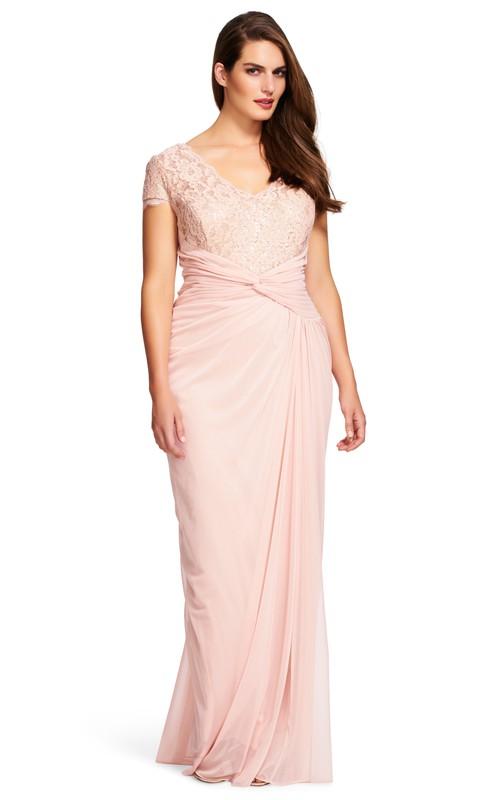 Pencil Short Sleeve V-neck Lace Ruched plus size Dress