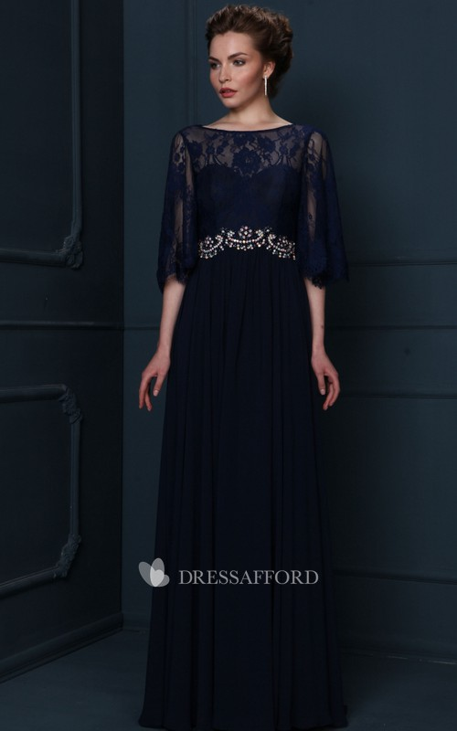 Chiffon Appliqued Bateau-Neckline Mother Of The Bride
