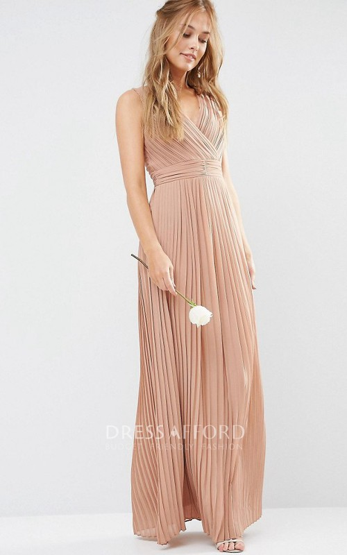 V-neck Sleeveless overall Pleated Dress