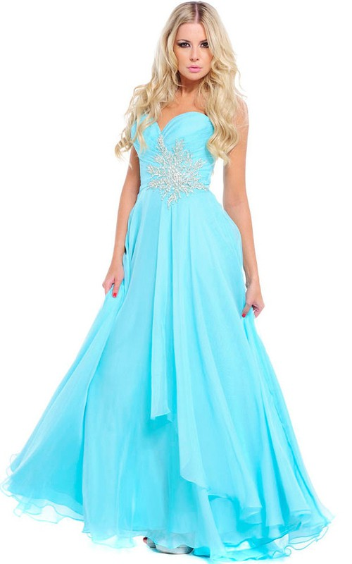 A-Line Sleeveless Sweetheart Appliqued Chiffon Prom Dress