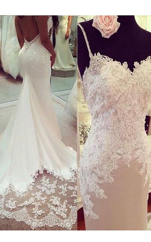 Spaghetti Satin Lace  Sleeveless Wedding Gown