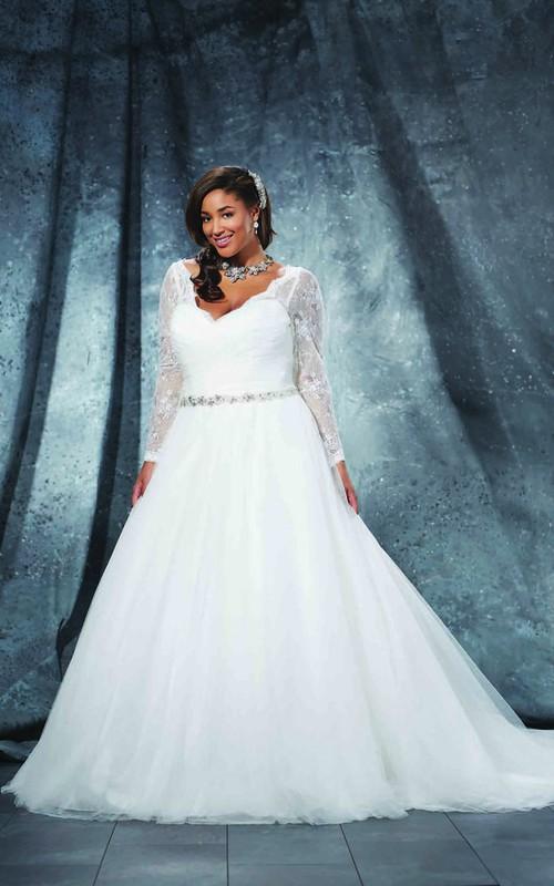 V-Neckline Criss-Cross-Waist Court-Train Ball-Gown Princess Jewellery Tulle Dress