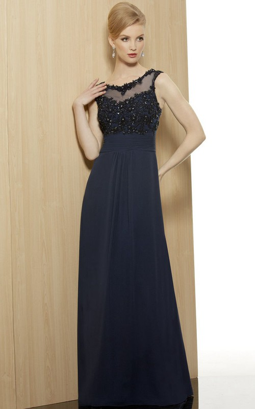 V-neck Sleeveless Jersey Beaded Long Dress With Illusion And Beading