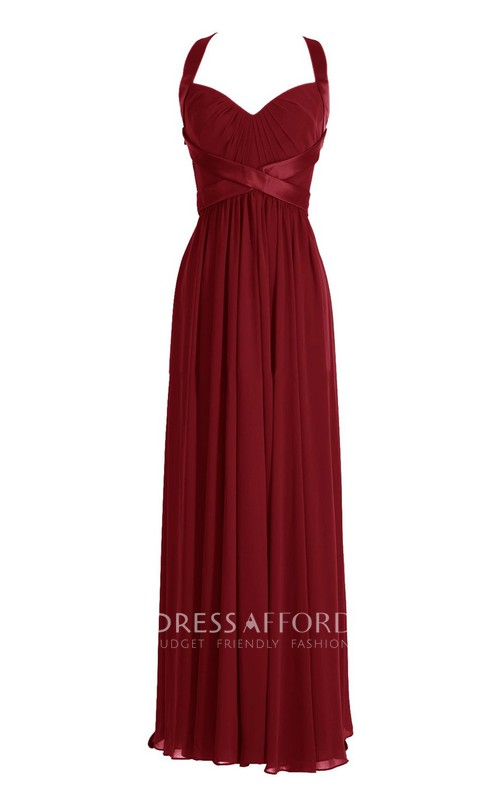 Satin Belt Keyhole Back Queen-Anne Dress