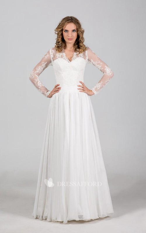 Wedding Chantilly Lace Corset Floor-Length Boho-Inspire Gown