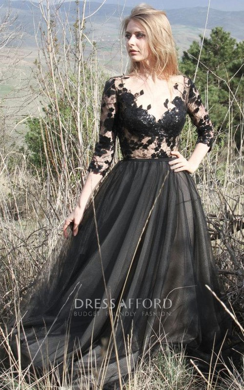 Tulle Long Sleeve Illusion Dress With Appliques And Deep-V Back