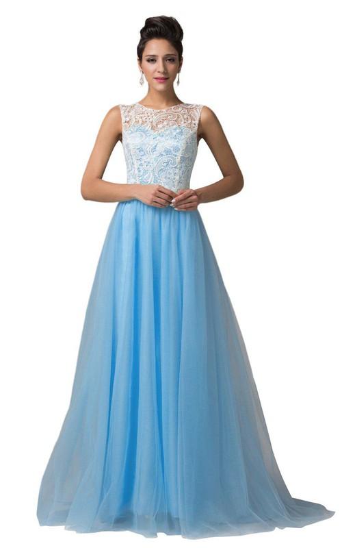Chiffon Lace Top A-Line High-Neckline Dress