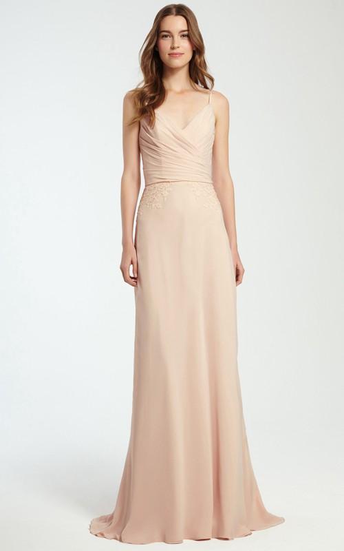 Spaghetti V-neck Chiffon Bridesmaid Dress With Criss cross And Appliques