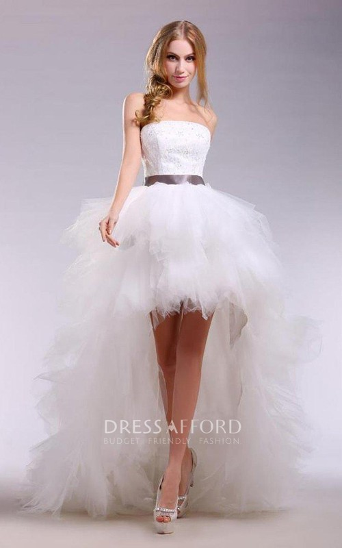 High-Low Satin Ribbon Sleeveless Strapless Tulle Dress