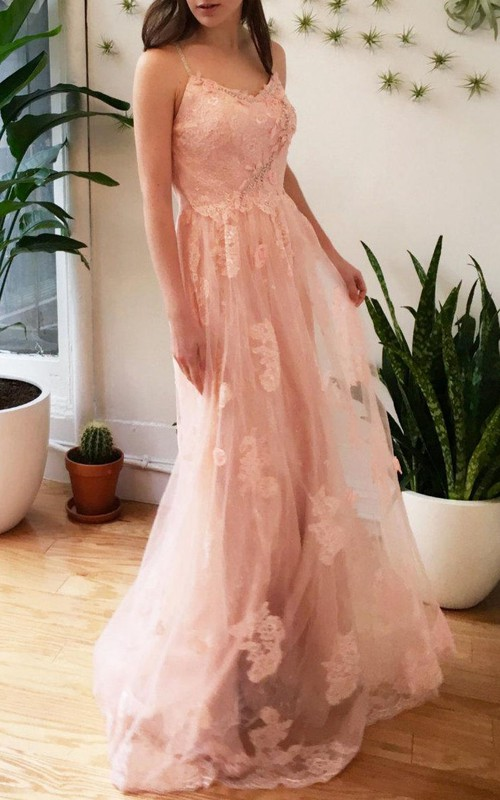 Spaghetti-strap Tulle Lace Appliqued Dress With Deep-V Back