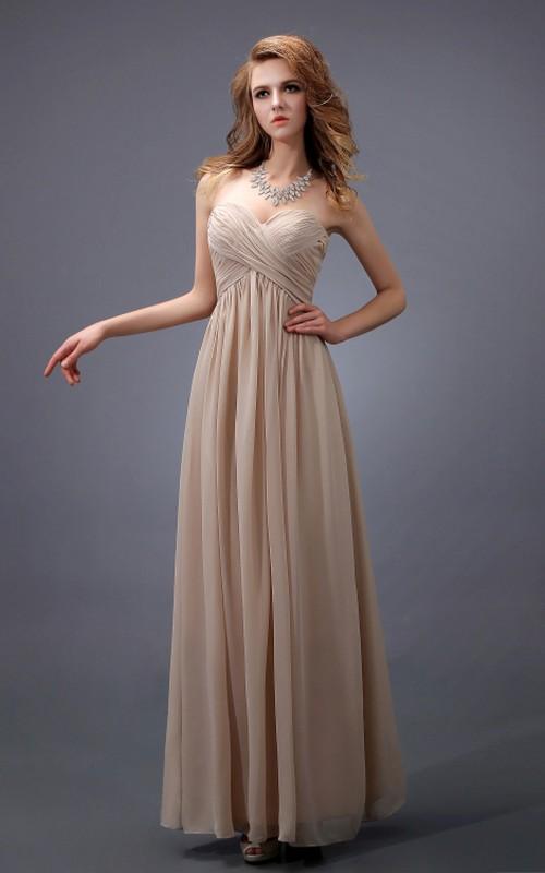 Sleeveless Crisscross Ruched Sweetheart Empire Dress