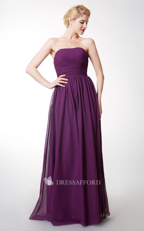 Strapless Chiffon Ruched Floor-length Dress With Pleats