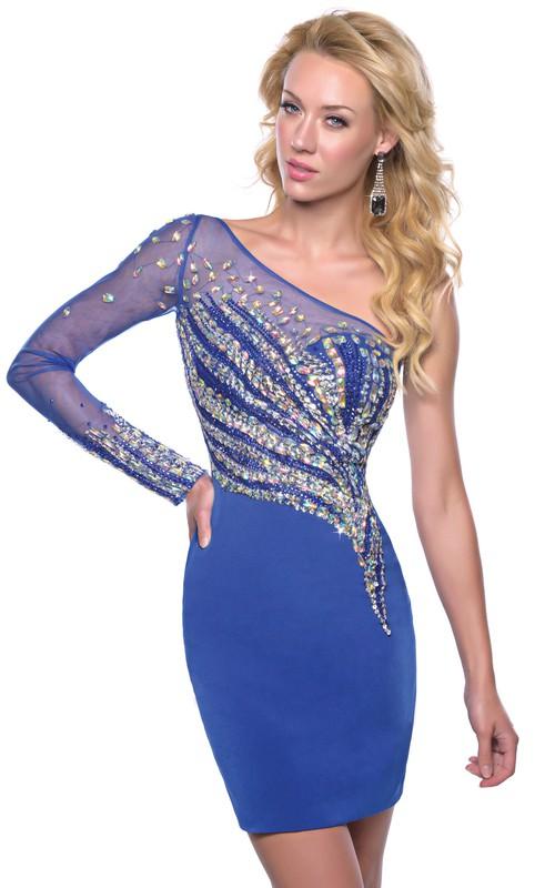Long Rhinestones Illusion-Sleeve One-Shoulder Homecoming Column Dress