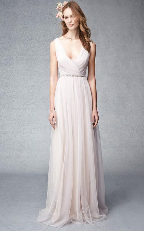 Plunged Sleeveless Chiffon Ruched Bridesmaid Dress With Jeweled Waist