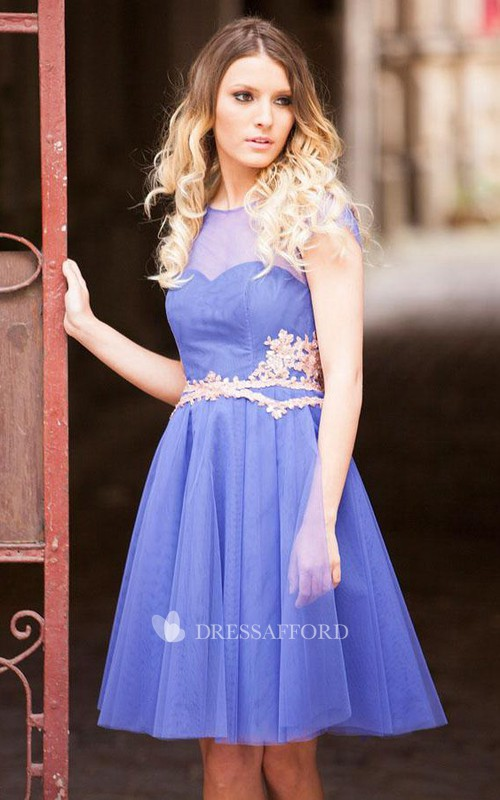 Embroidered Illusion Boat Neck Short Tulle Dress
