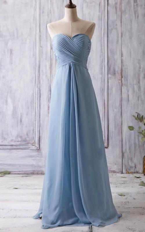 Sweetheart Criss cross Chiffon A-line Bridesmaid Dress With Zipper
