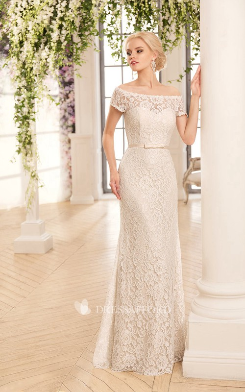 Off-The-Shoulder Lace Floor-Length Sheath Illusion Dress