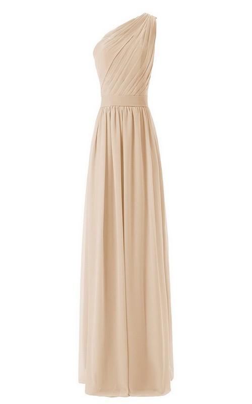One-shoulder Sleeveless Chiffon Ruched Bridesmaid Dress
