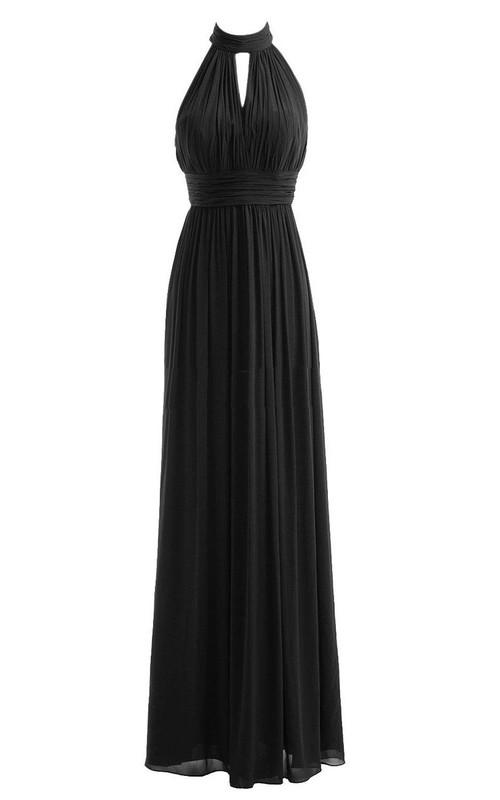 High Neck Sleeveless Chiffon Long Dress With Pleats
