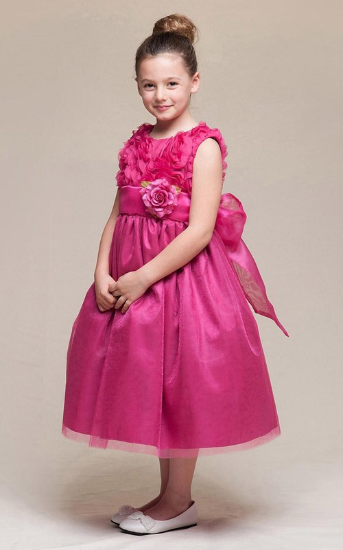 High-Waist Embroidery 3-4-Length Floral Flower Girl Dress