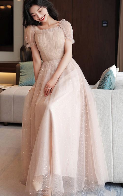 Off-the-shoulder Square V-neck Tulle Floor-length Formal Dress With Ruching
